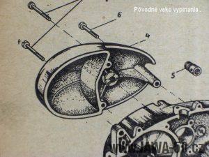 Pravé víko motoru pro starý způsob vypínání spojky