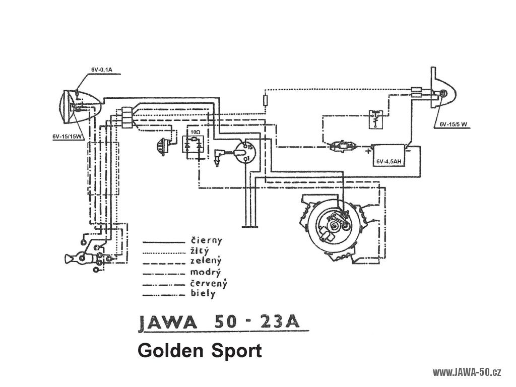 Schéma zapojení elektroinstalace motocyklu Jawa 50 typ 23A Golden Sport