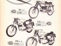 Reklamní prospekt motocyklů Italjet s motory Jawa a Jawa 05 (Vampiro)