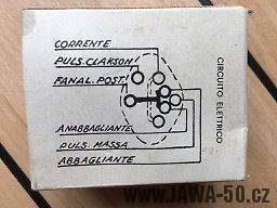 Vývozní Jawa 23A Golden Sport - přepínač světel Aprilia (036640, model DIP/58) - schéma zapojení