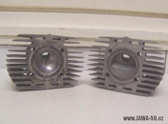 Porovnání hlav motorů Jawa 05 a Jawa 20 s vyšší kompresí