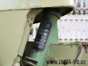Jawa 50 Super M20 - vývozní provedení pro Maďarsko (výrobní štítek)