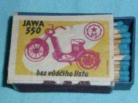Dobová krabička zápalek (sirek) s reklamou na motocykl Jawa 550 Pionýr (pařez) - bez vůdčího listu