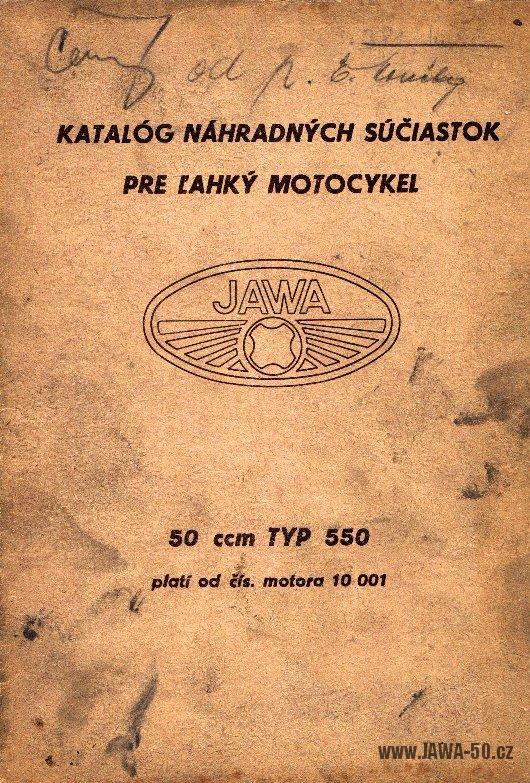 Katalog náhradních dílů Jawa 550 Pionýr (1955)