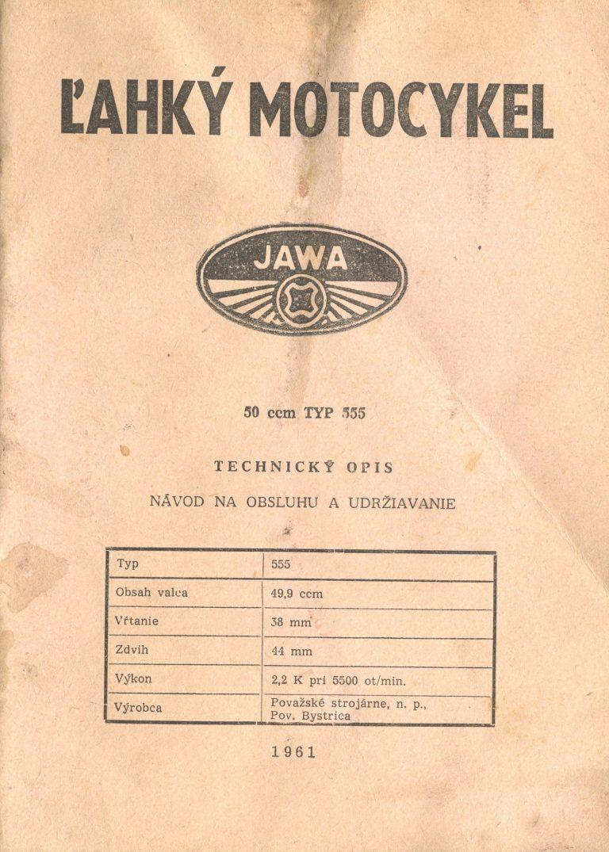 Jawa 555 Pionýr - technický popis a návod k obsluze (1961)