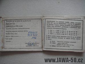 Jawa 20 z roku 1970 v odstínu Holubí modř - technický průkaz