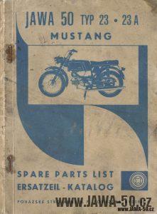 Katalog náhradních dílů Jawa 50 typ 23, 23A Mustang v Angličtině a Němčině