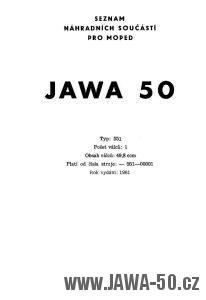 Seznam náhradních součástí pro moped Jawa 50 typ 551 Jawetta
