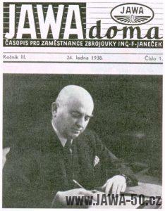 Časopis Jawa doma pro zaměstnance zbrojovky F. Janečka (1/38)