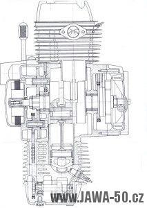 Řez motorem Jawa 420 typ 824 boxer
