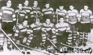 Hokejové družstvo Jawy - stojící zleva: L. Štajner, J. Šulc, M. Kremer, M. Čalda, J. Janeček, P. Slavíček, M. Vokurka, F. Helikar - sedící zleva: G. Havel, F. Šťastný, J. Janouš, G. Šulc