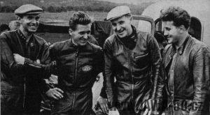 Tovární tým Jawy 1955 - zleva: Janouš, Havel, Šťastný a Berkman