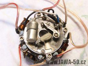 Čtyřpólový (čtyřcívkový) stator zapalování Jawa 50 Pionýr