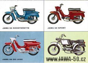 Dobový italský prospekt s nabídkou motocyklů Jawa 50 typ 05 doplněný o Ital-jet Jawa Mustang