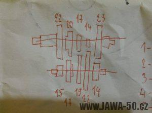 Pětistupňová převodovka Jawa 50 - soukolí, počty zubů koleček