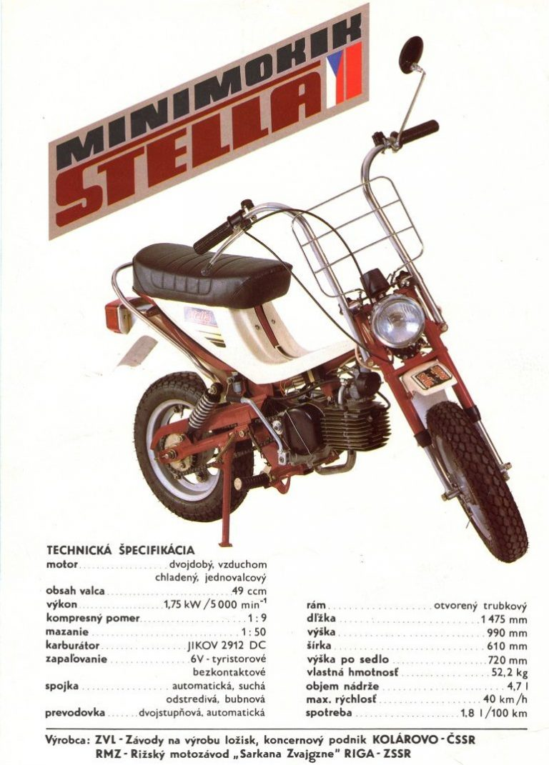 ZVL Kolárovo, RMZ Riga - Minimokik Stella (reklamní prospekt 1989)