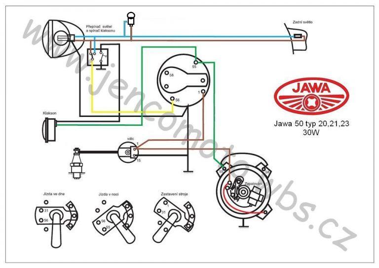 Zapojení 6V/30W s podsvícením tachometru