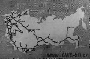 Cesta Vjačeslava Děmina kolem SSSR na Jawě 555 Pionýr - mapa
