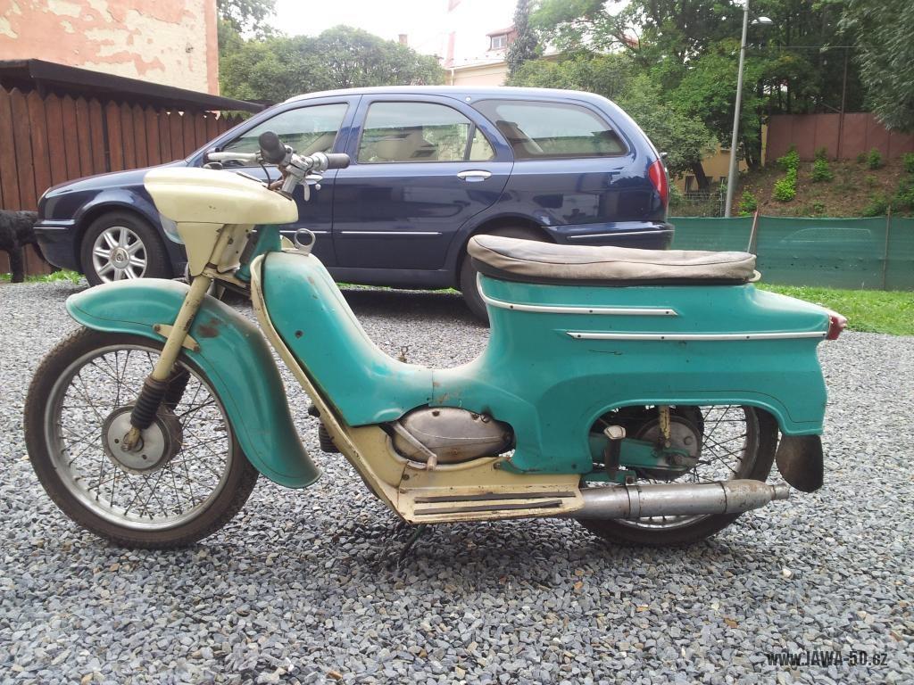 Motocykl Jawa 50 typ 05 z roku 1962 - nálezový stav