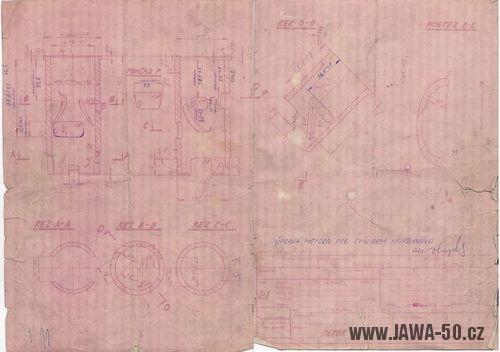Jawa 50 typ 20 - výkres čtyřkanálového válce motoru