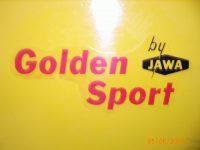 Vývozní motocykl Jawa 50 typ 23 Golden Sport z roku 1972 - nálepka na nádrži