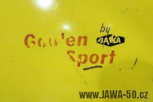 První provedení vývozního motocyklu Jawa 23 Golden Sport z roku 1971 v původním stavu - nálepka na nádrži