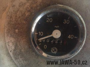 Tachometr Jawa 50 (značka FER) - varianta 8, exportní provedení v mílích