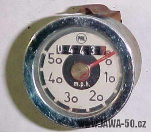 Tachometr Jawa 50 (značka PAL) - varianta 3 (Jawa 555) - vývozní varianta v MPH