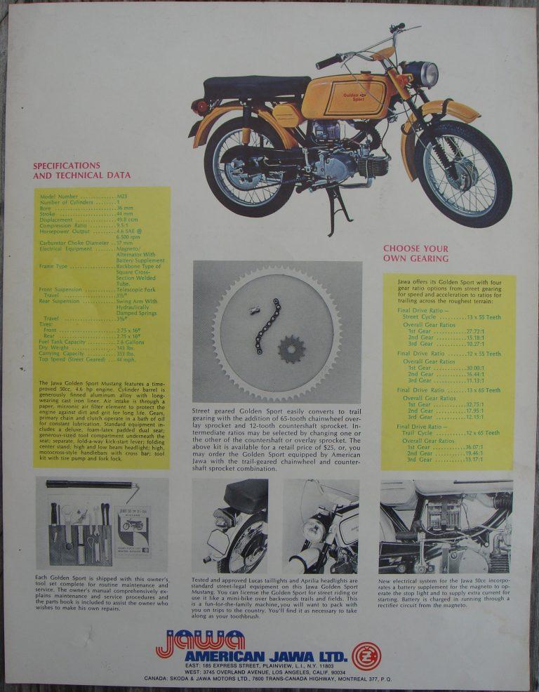 Vývozní motocykl Jawa 50 typ 23 Golden Sport (Mustang) - dobový prospekt