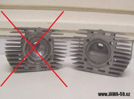 Porovnání hlav válců s nižší a vyšší kompresí, Jawa 05 vs. Jawa 20