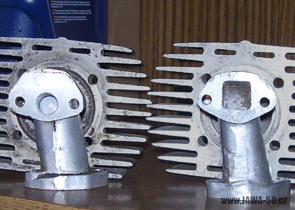 Srovnání sacích kolínek karburátoru exportní (přiškrcené) verze a normální