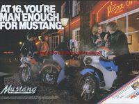 První (starší) provedení kapotovaného vývozního Jawy 23 Mustang pro Velkou Británii - reklamní prospekt