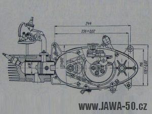 Výkres motoru Jawa 05 Pionýr