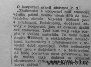 Problémy s kooperací a dodávkami dílů na motocykly Jawa 550 Pionýr v letech 1955-1956 (Svět Motorů 16/1956)