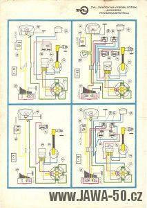 Schéma zapojení elektroinstalace mopedů Jawa 50 typ M207 Babetta