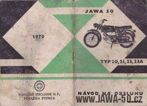 Návod k obsluze motocyklů Jawa 50, typ 20, 21, 23A Mustang