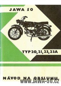 Návod na obsluhu motocyklů Jawa 50, typ 20, 21, 23A Mustang