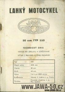Návod k obsluze motocyklu Jawa 550 Pionýr