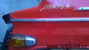 Jawa 05 vývoz pro Kanadu a USA - nápis Jawa 05A na zadním blatníku, charakteristický pro export