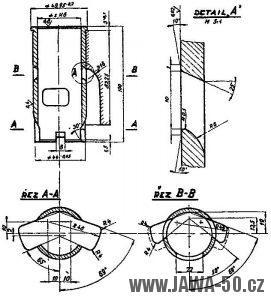 Výkres úpravy válce motoru Jawa 05