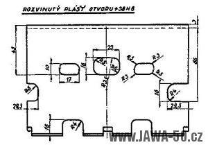 Rozvinutý výkres úpravy válce motoru Jawa 05