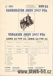 Technický popis karburátoru Jikov 2917 PSb (Technische Beschreibung Vergaser Jikov 2917 PSb)