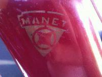 Motocykl Manet 550 (Jawa 550 Pionýr) - atypický kus, logo na nádrži