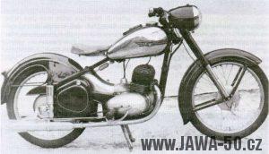 Náčrt modernizované Jawy 250 s pérováním zadního kola k jejíž realizaci ale nedošlo