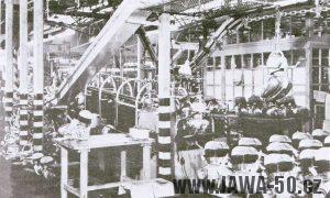 Výroba motorů v nových halách v Praze-Nuslích, kde došlo koncem padesátých let k modernizaci