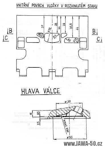 Výkres upraveného válce Jawa 20