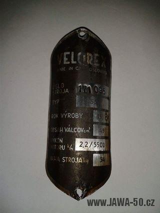 Výrobní štítek Jawa 555 Velorex