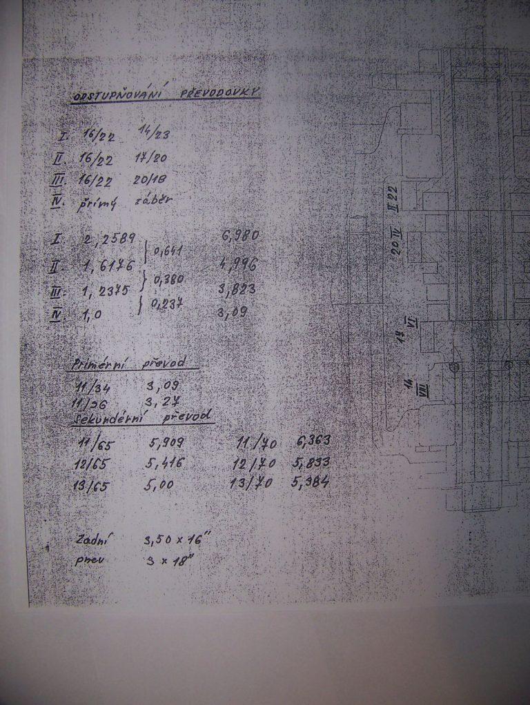 Čtyřstupňová převodovka Jawa 50 (Walter) - převodové poměry