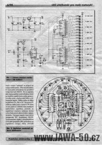 Článek z časopisu Amatérské Radio popisující výrobu LED otáčkoměru pro malý motocykl Jawa 50 Pionýr