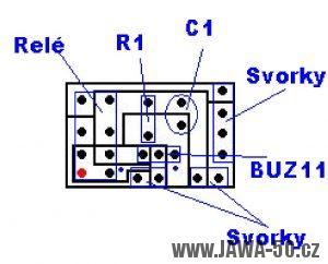 Schéma osazení plošného spoje alarmu součástkami (Jawa 50 Pionýr)